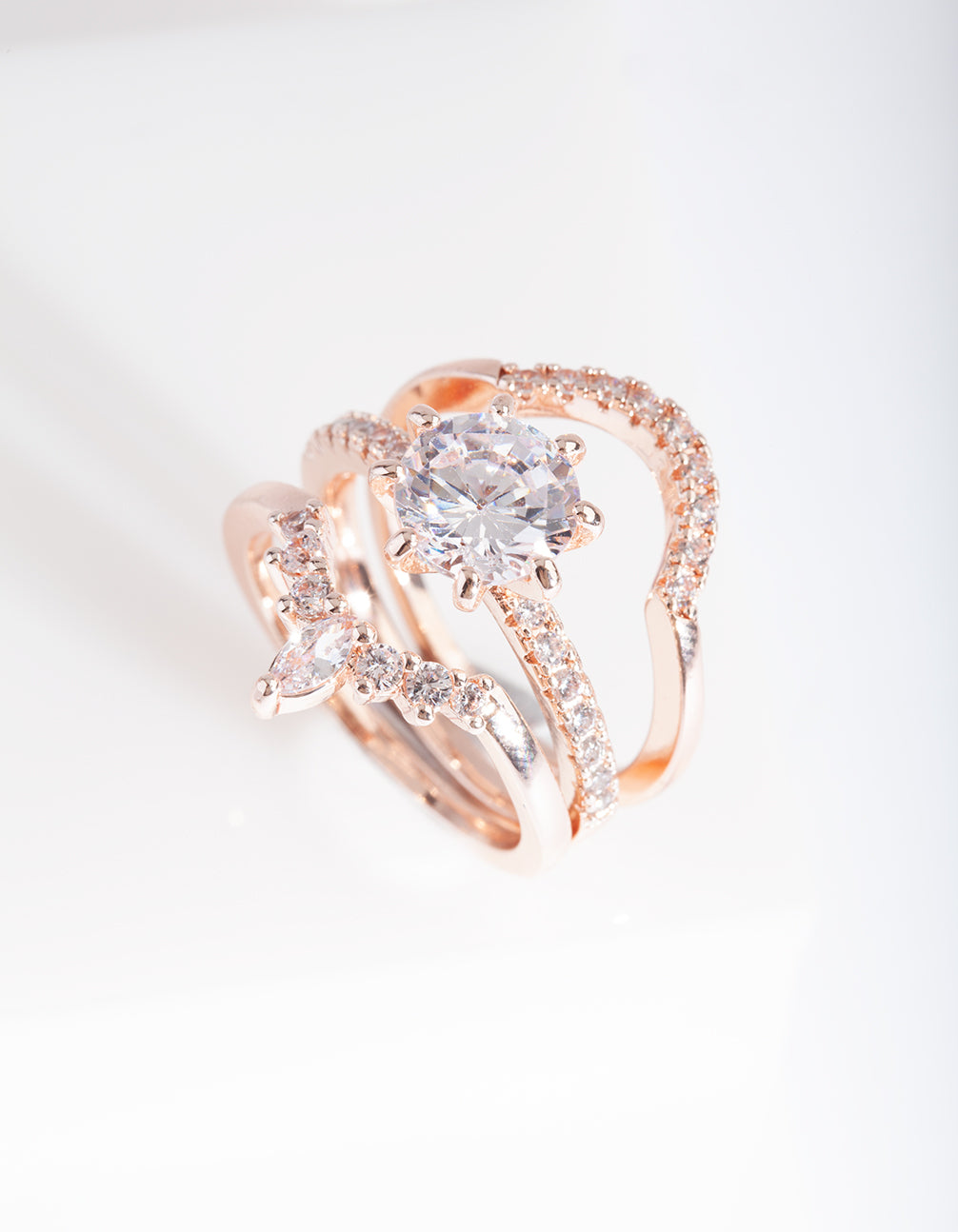 Rose Gold Cubic Zirconia Engagement Stack