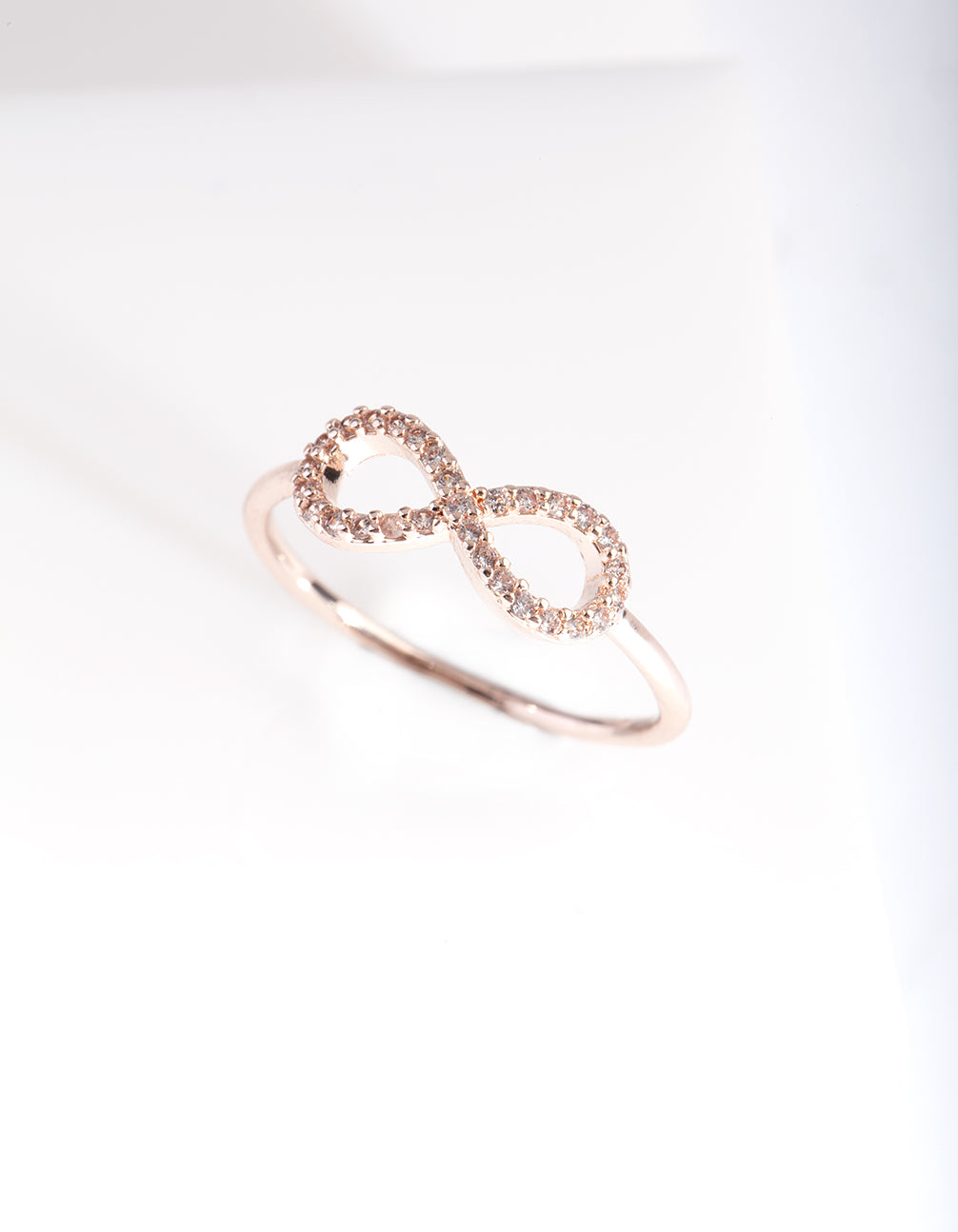 Rose Gold Cubic Zirconia Infinity Ring