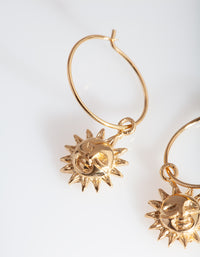 Gold Plated Sun Hoop Earring