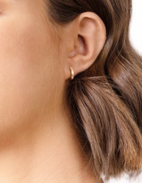 Gold Plated Sterling Silver Gem Huggie Earring - link has visual effect only
