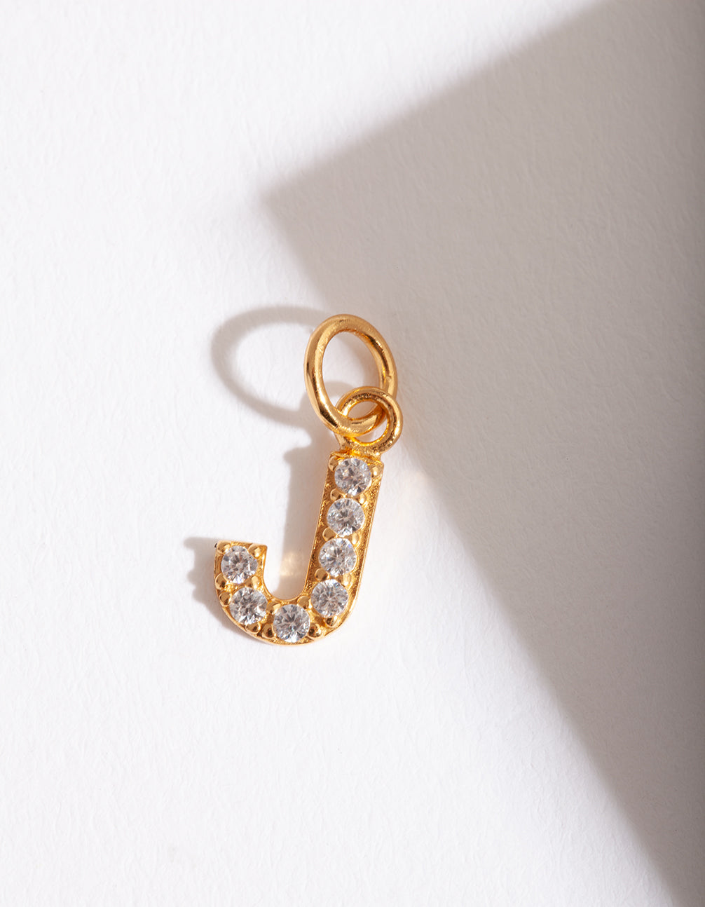 "Gold Plated Cubic Zirconia Letter ""J"" Charm"