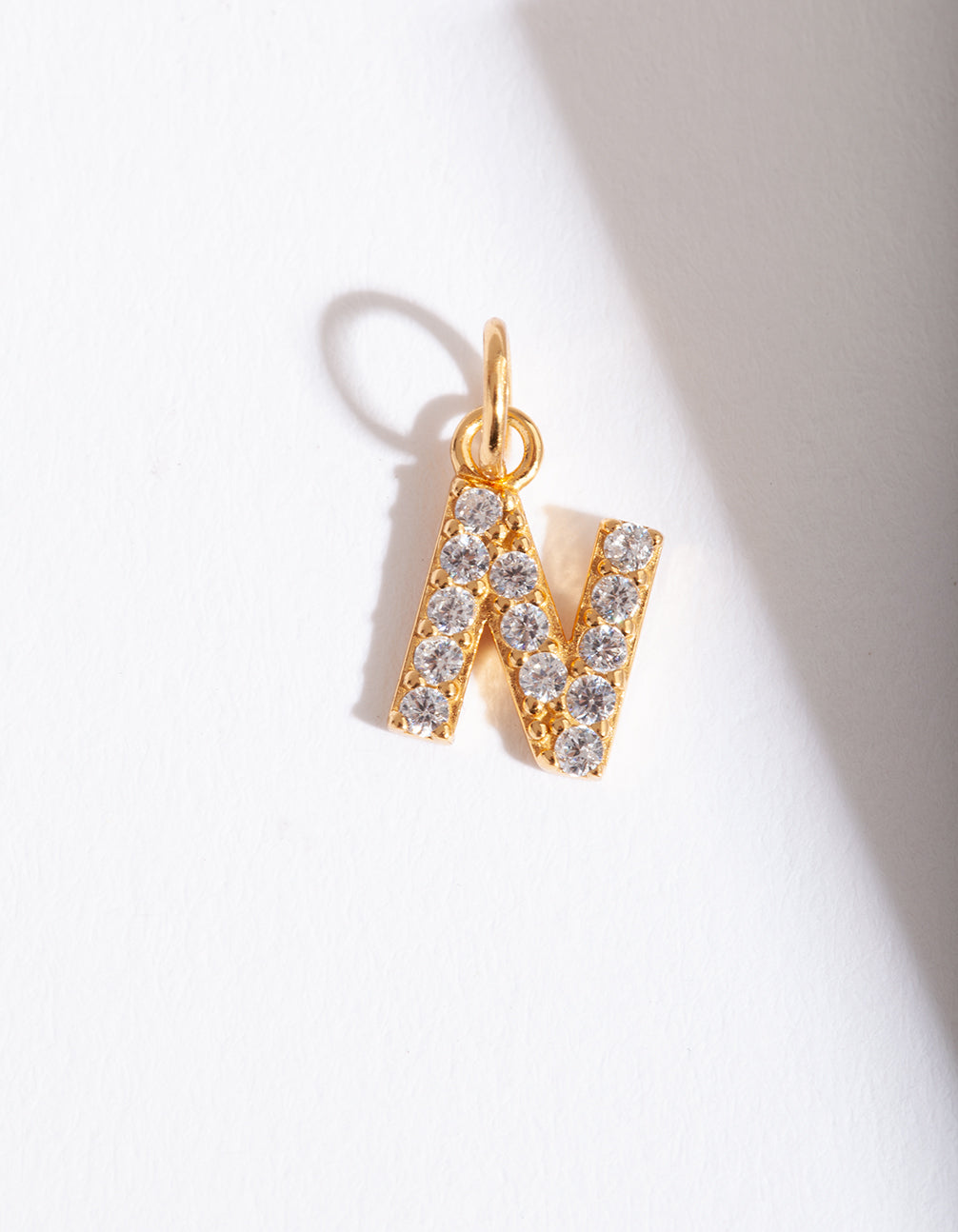 "Gold Plated Cubic Zirconia Letter ""N"" Charm"