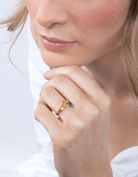 Gold Plated Sterling Silver Double Pointed Ring - link has visual effect only