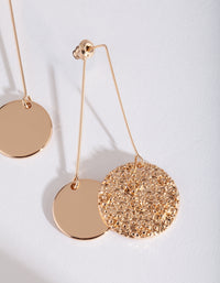 Gold Textured and Smooth Disc Drop Earring