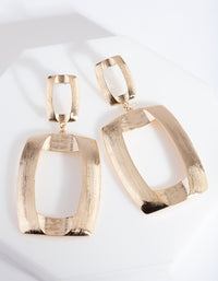 Gold Textured Open Geometric Drop Earrings