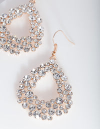 Rose Gold Diamante Teardrop Earring