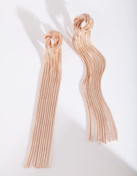 Rose Gold Metal Knot Drop Earrings - link has visual effect only