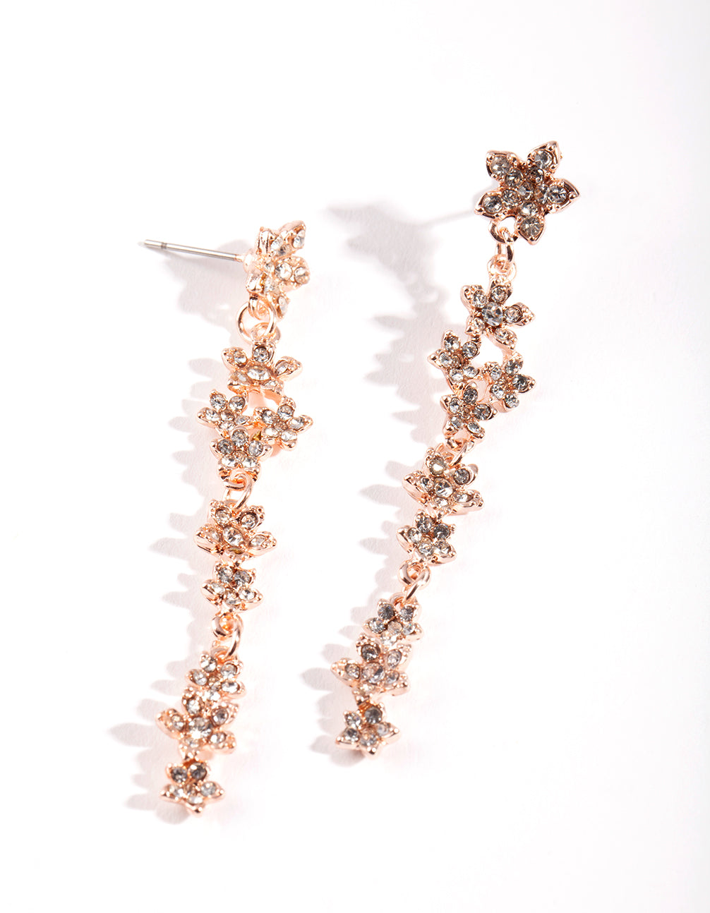 Rose Gold Floral Diamante Drop Earring