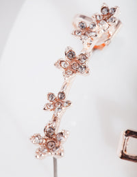Rose Gold Diamante Flower Ear Cuff