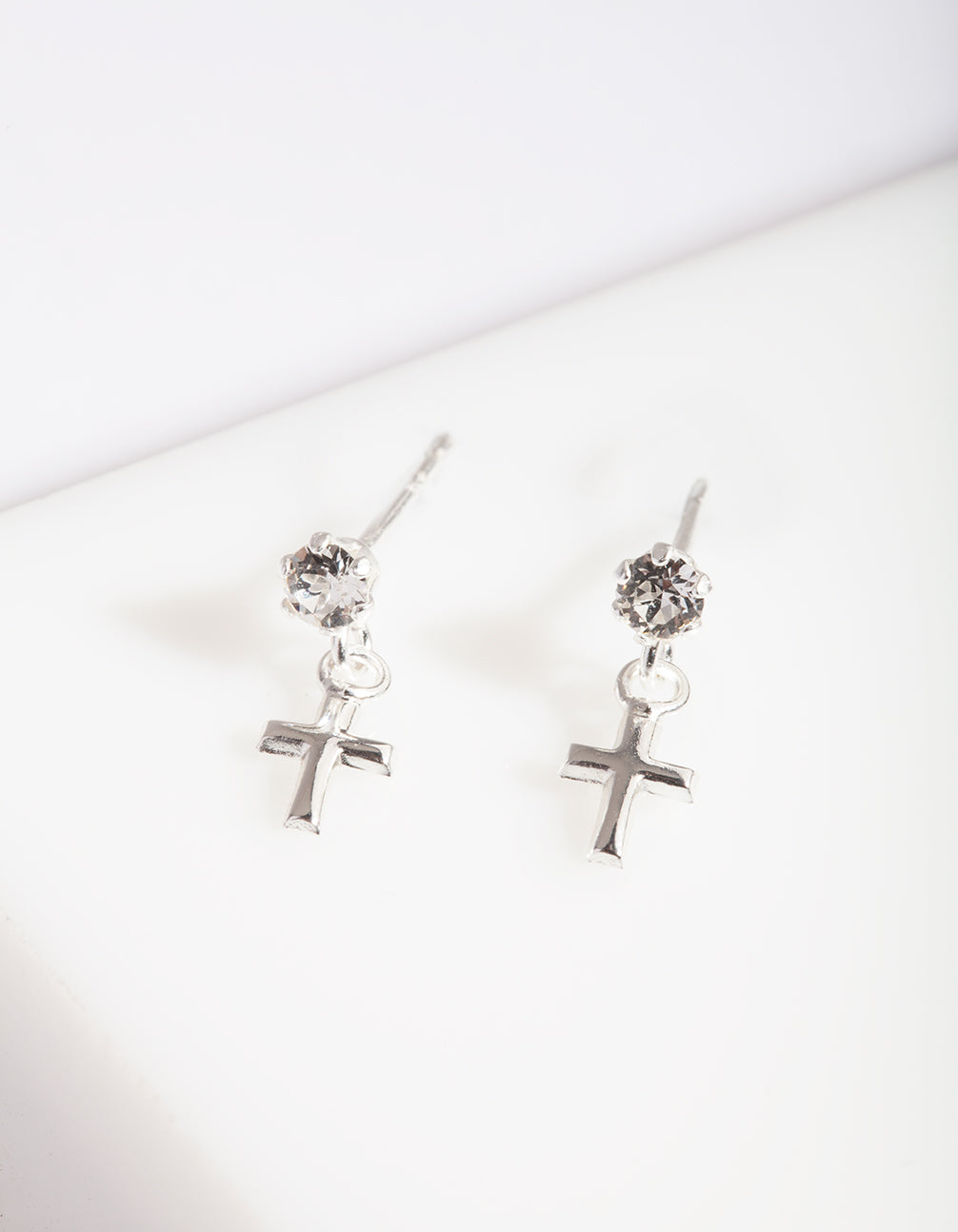 Sterling Silver Mini Cross Diamante Earring
