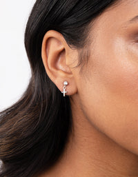 Sterling Silver Mini Cross Diamante Earring - link has visual effect only