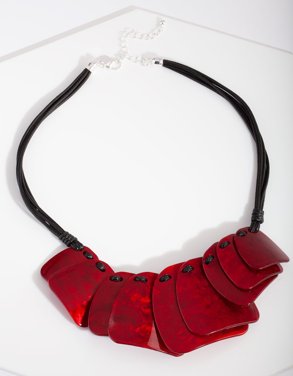 Red Acrylic Disc Necklace