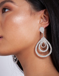 Silver Diamante Multi Droplet Drop Earring