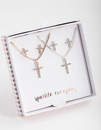 Mixed Metal Diamante Cross Jewellery Set - link has visual effect only