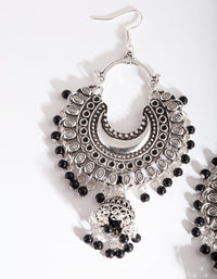 Silver Black Bohemian Beaded Earrings - link has visual effect only