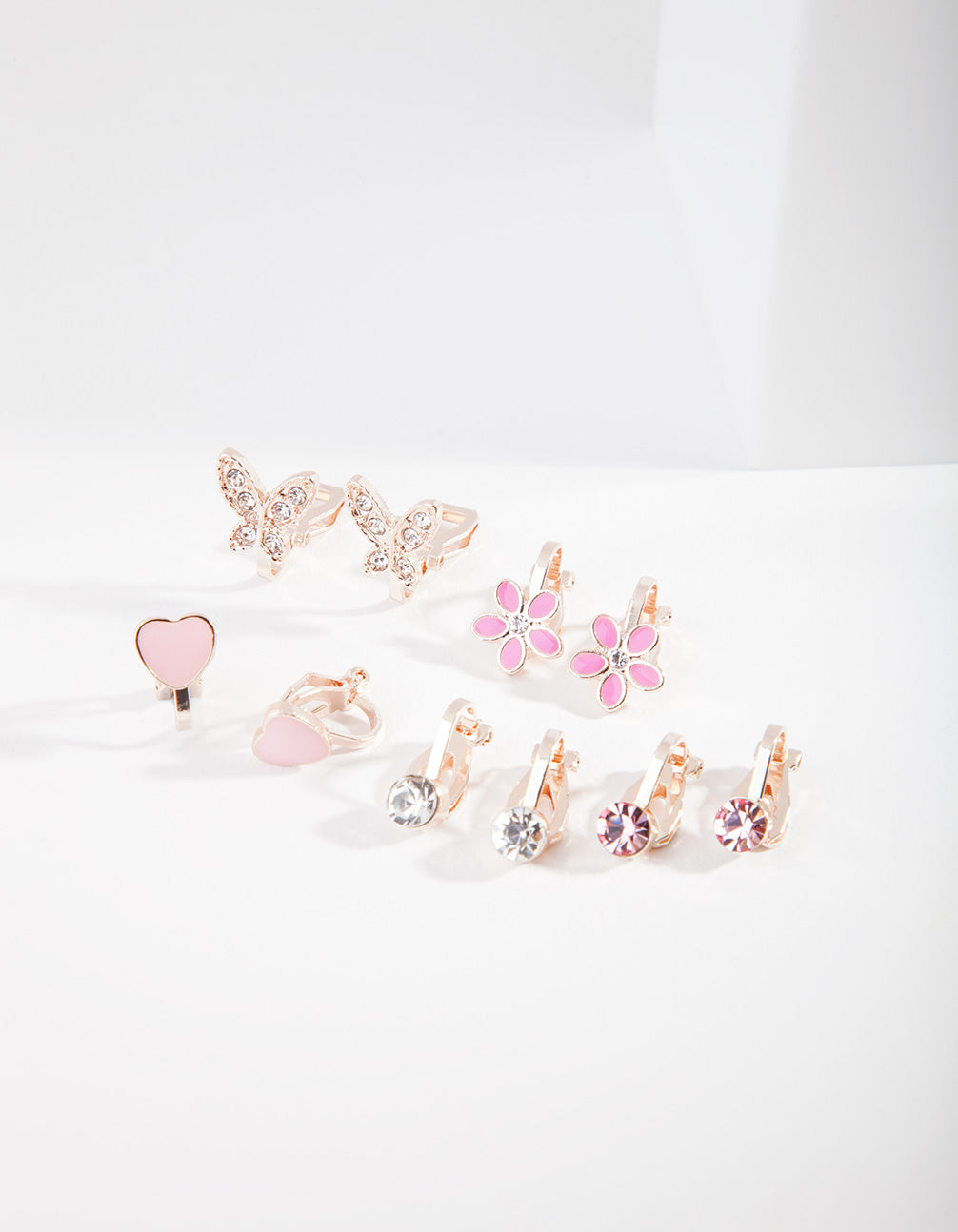 Kids Rose Gold Hearts and Flowers Clip Earring 5 Pack