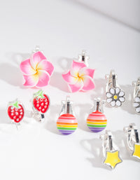Kids Fruity Flower Clip-On Earring Pack - link has visual effect only