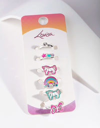 Kids Silver Unicorn Enamel Ring 6 Pack - link has visual effect only