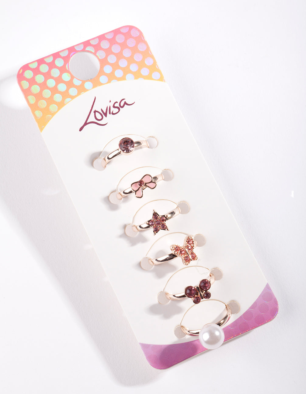 Kids Rose Gold Pink Ring 6 Pack