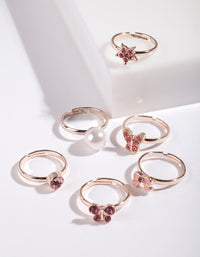Kids Rose Gold Pink Ring 6 Pack - link has visual effect only