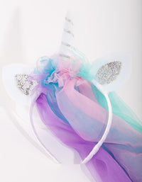 Kids Unicorn Rainbow Veil Headband - link has visual effect only