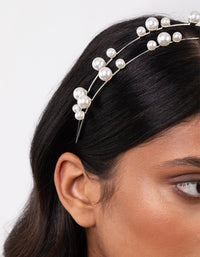 Silver Pearl Double Row Headband - link has visual effect only