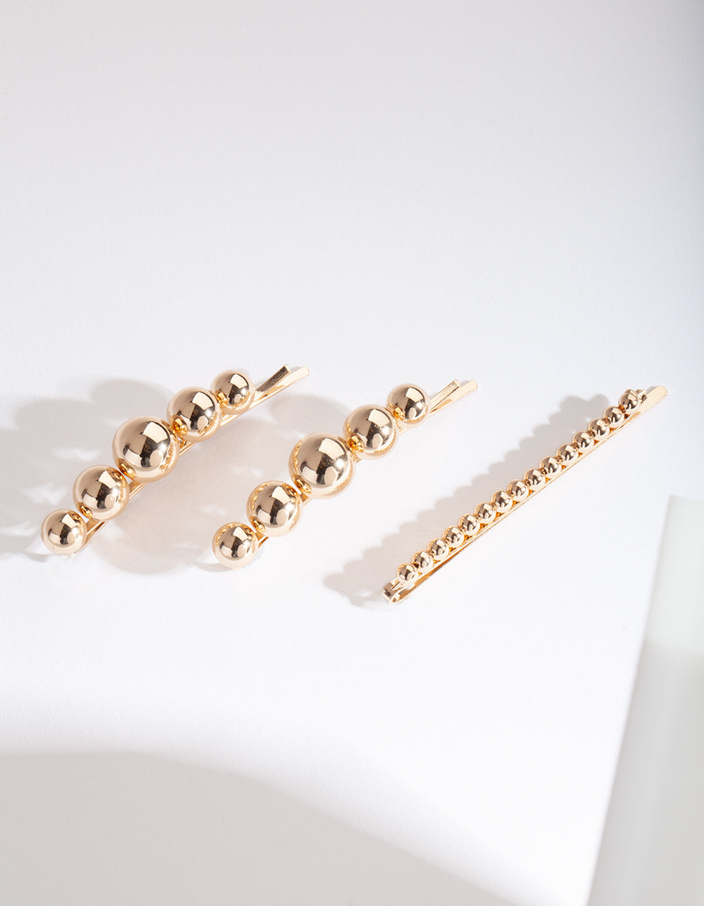 Gold Bead Hair Clip 3 Pack
