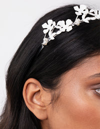 Silver Metal Flower Pearl Headband