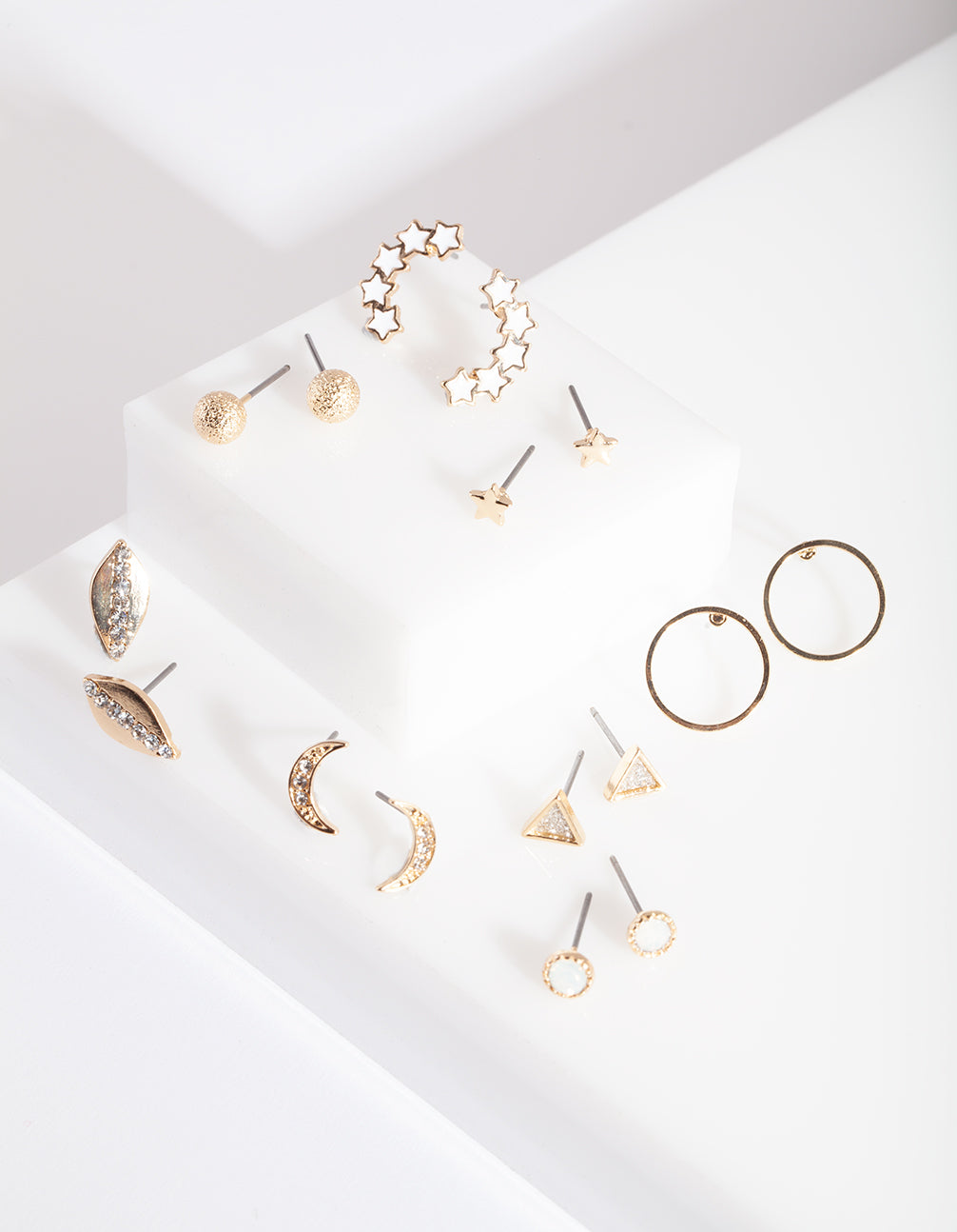 Gold Diamante Mini Earring Stud Pack
