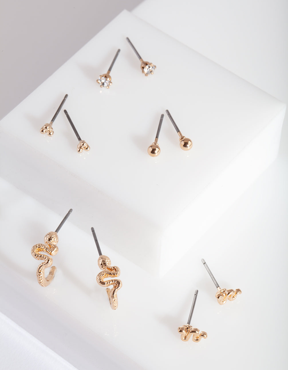 Gold Essential Snake Earring Stud Pack