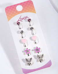 Kids Shiny Silver Diamante Heart Flower & Butterfly Clip On Earring 5 Pack - link has visual effect only