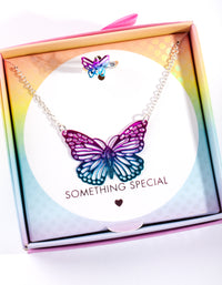 Kids Purple Butterfly Necklace Ring Set - link has visual effect only