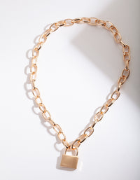Gold Lock Chain Necklace