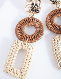Gold and Brown Raffia Geometric Drop Earrings
