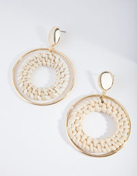 Gold Circle Raffia Earring - link has visual effect only