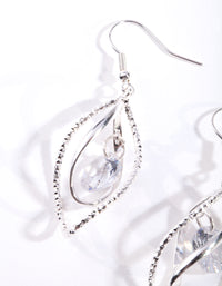 Silver Cubic Zirconia Charm Twist Earring - link has visual effect only