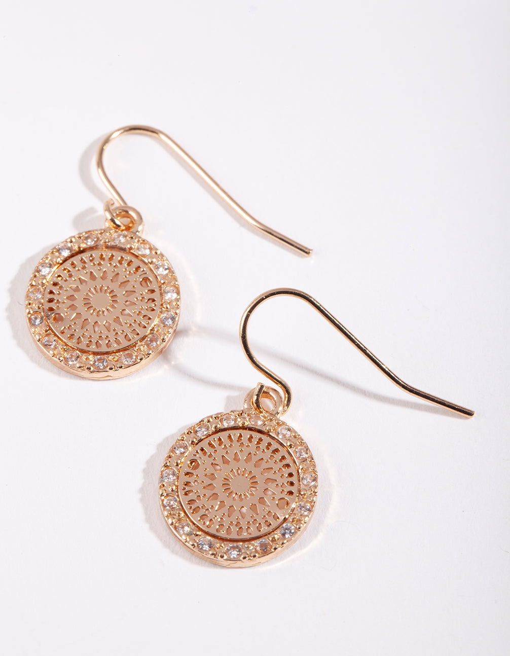 Gold Cubic Zirconia Stamp Earring