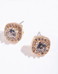 Gold Cubic Zirconia Pave Vintage Stud Earring - link has visual effect only