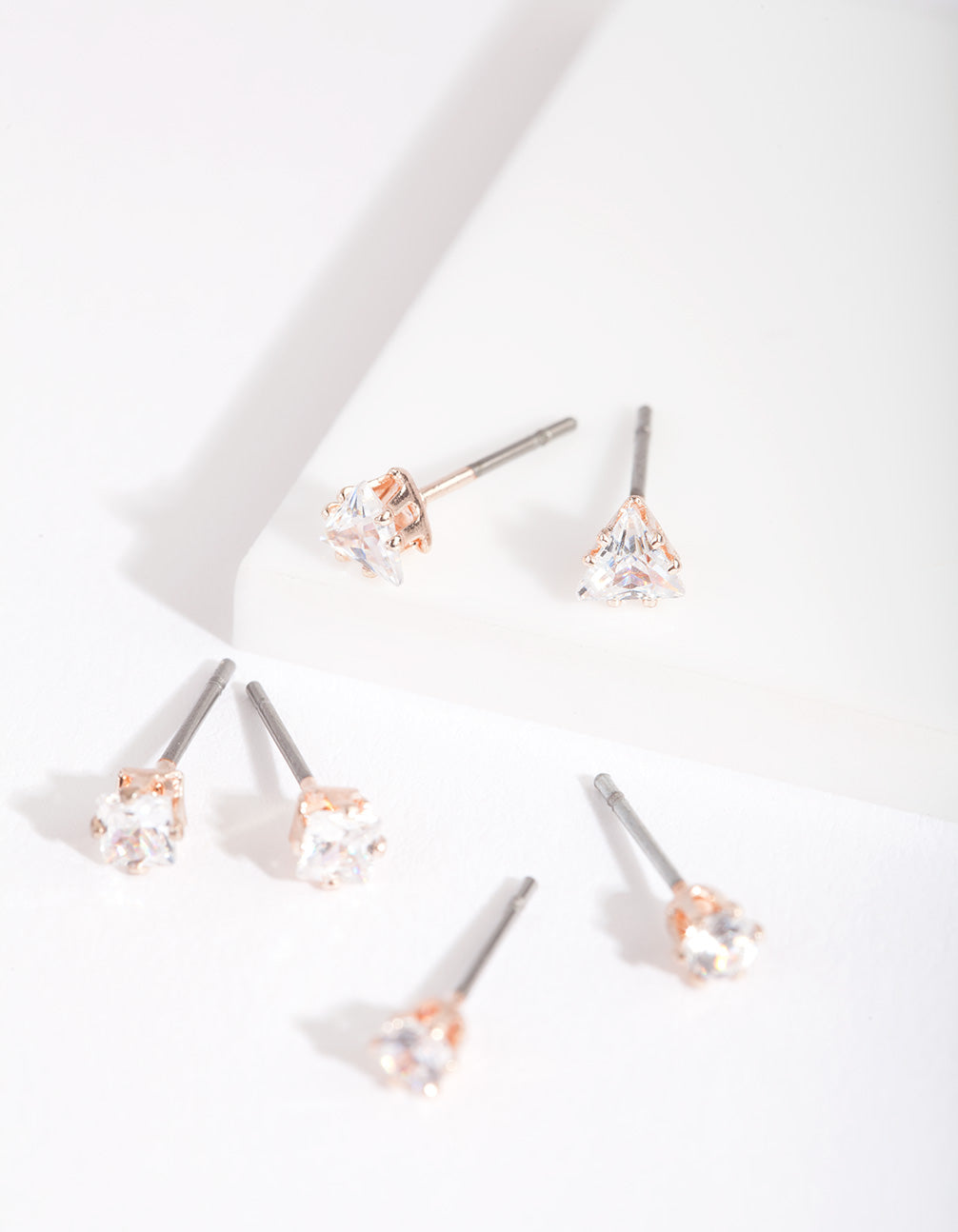Rose Gold Cubic Zirconia Geometric Stud Earring 3 Pack
