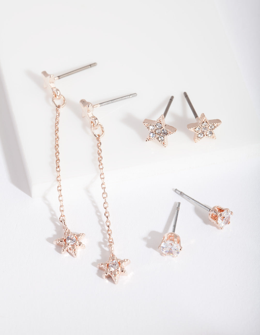 Rose Gold Cubic Zirconia Star and Chain Drop Earring 3 Pack