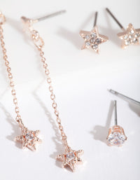 Rose Gold Cubic Zirconia Star and Chain Drop Earring 3 Pack - link has visual effect only