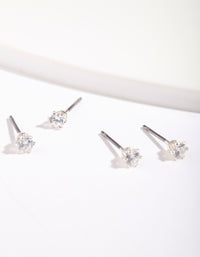 Silver Cubic Zirconia Micro Earring 2 Pack - link has visual effect only
