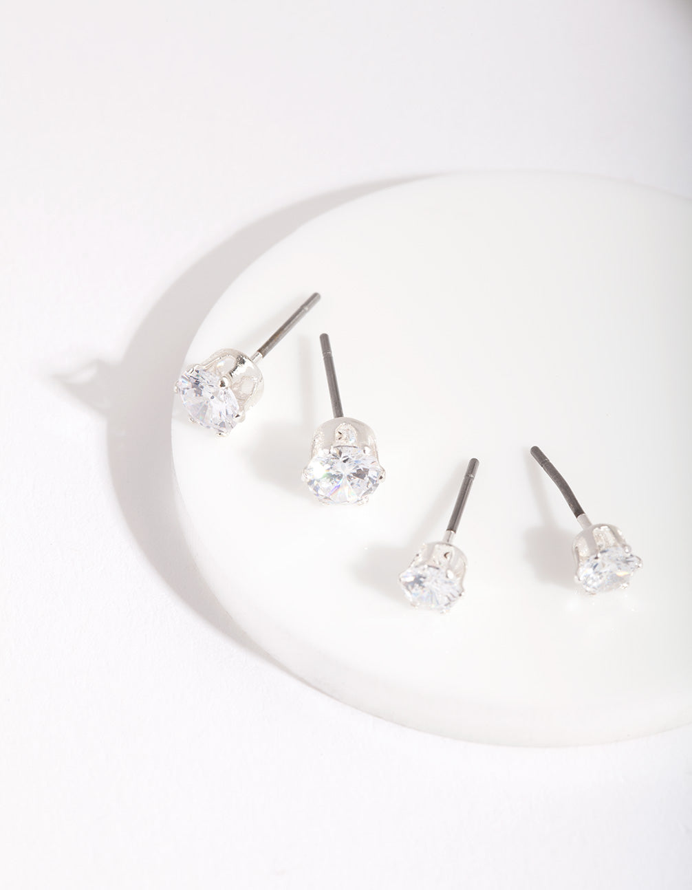 Silver Cubic Zirconia Round Stud Earring 2 Pack