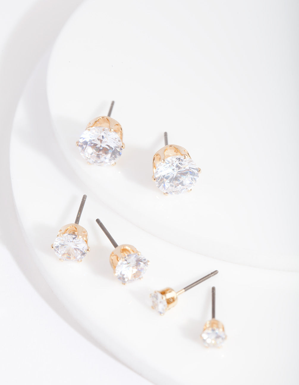 Gold Cubic Zirconia Graduating Stud Earring 3 Pack