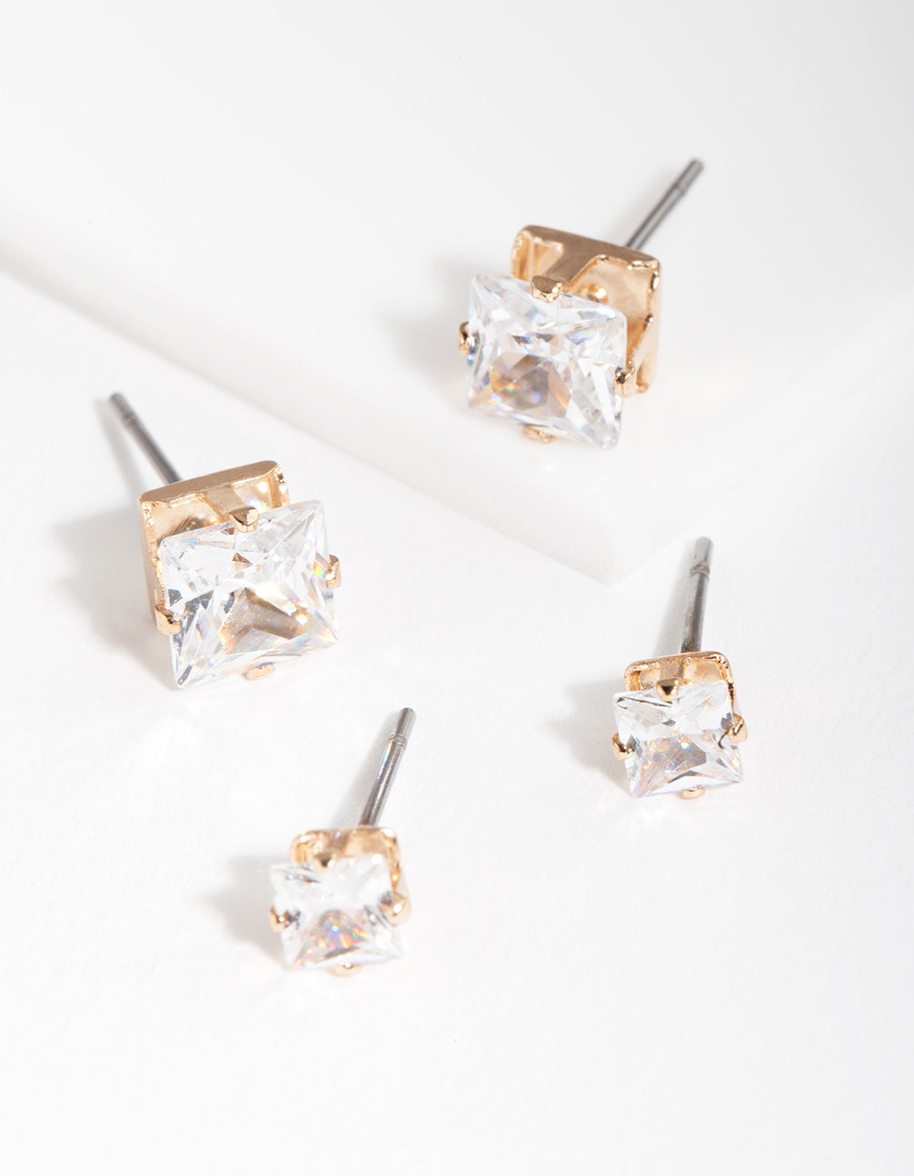 Gold Cubic Zirconia Square Earring 2 Pack