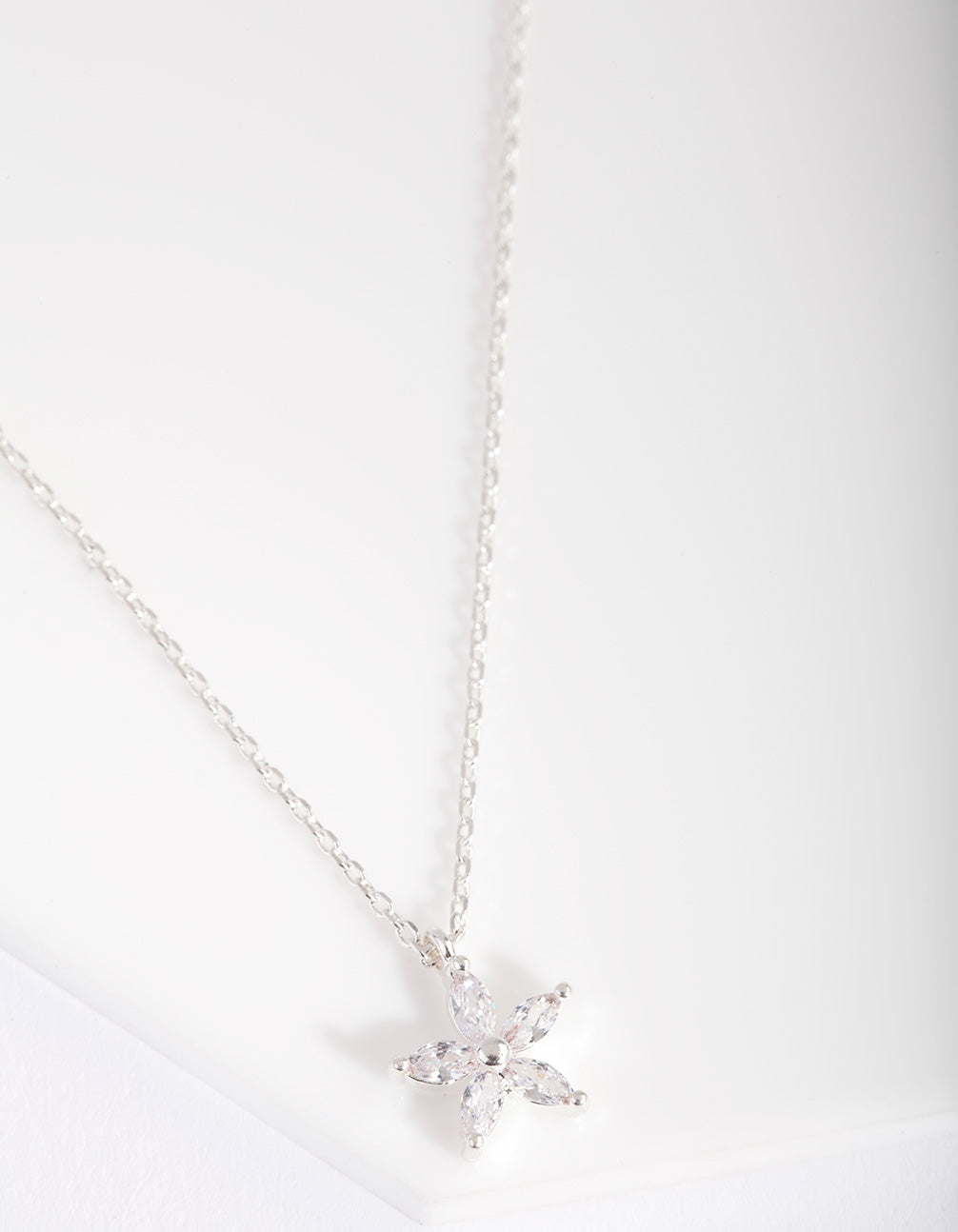 Silver Cubic Zirconia Flower Necklace