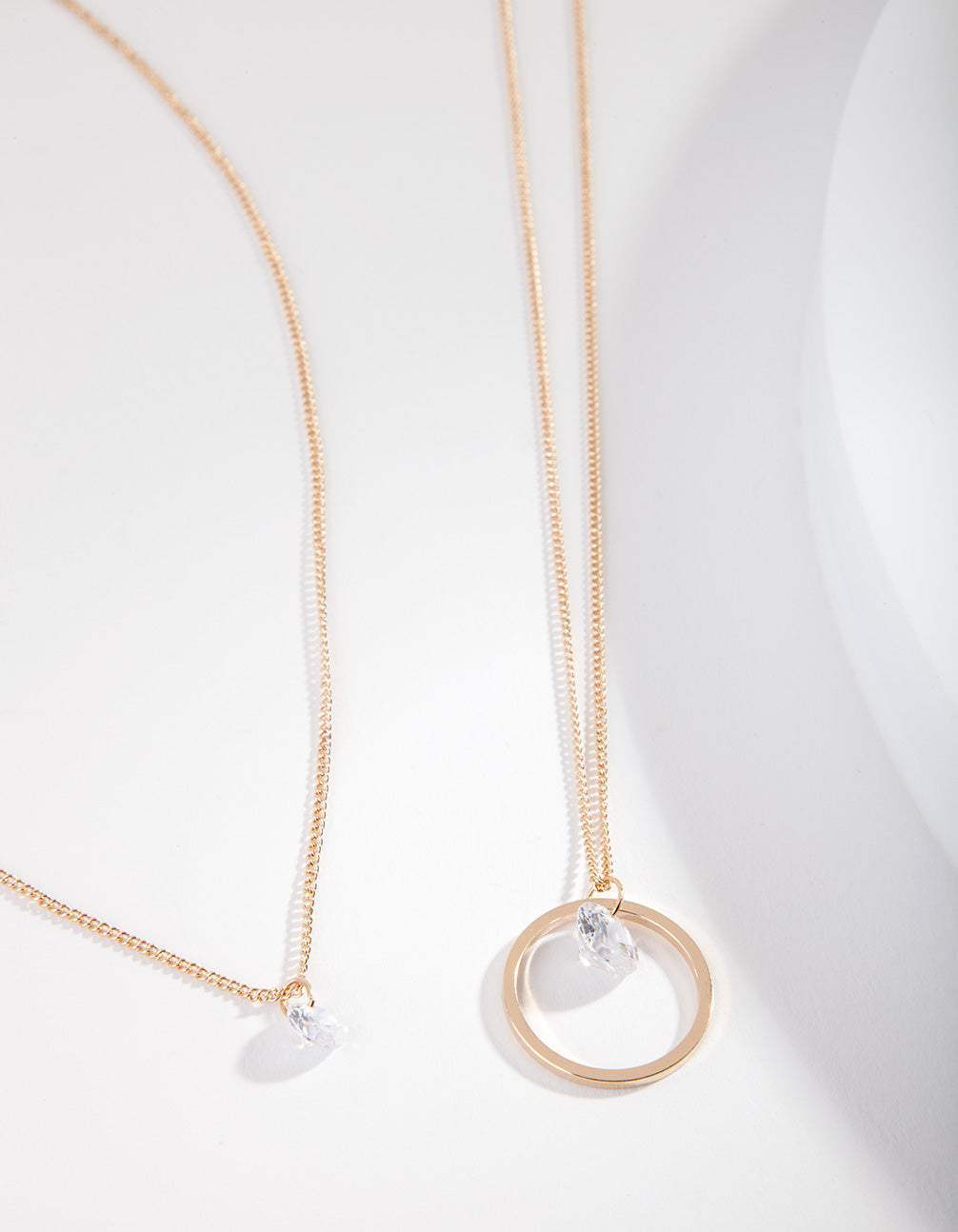 Gold Cubic Zirconia Circle Row Necklace