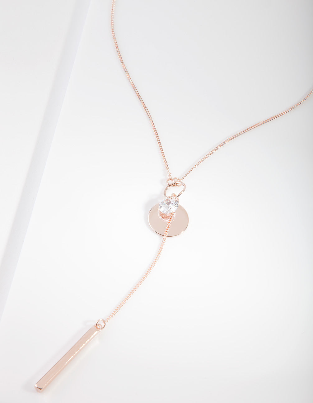 Rose Gold Cubic Zirconia Charm Necklace