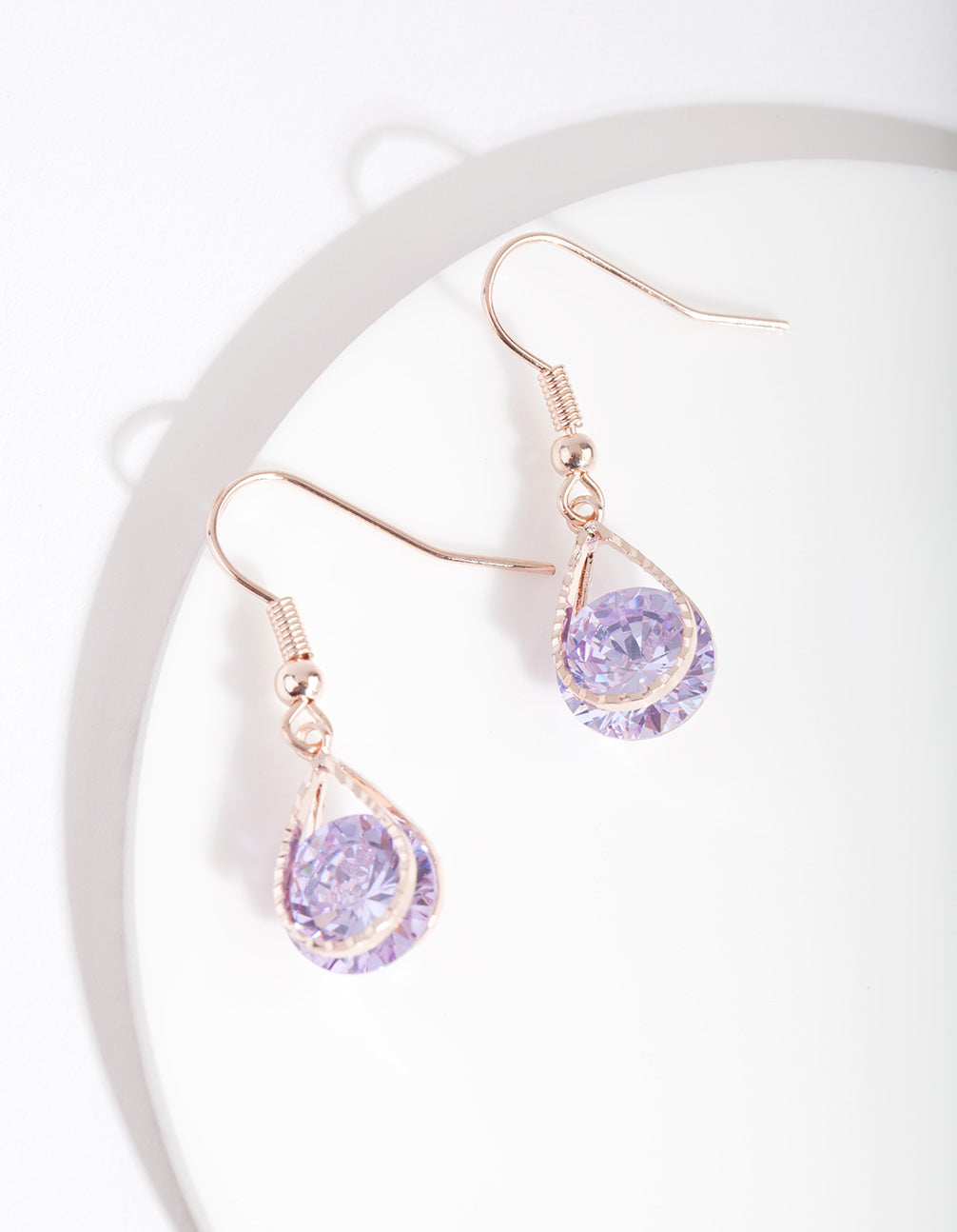 Rose Gold Cubic Zirconia Purple Diamante Teardrop Earrings