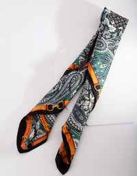 Luxe Multi Print Blue Green Scarf - link has visual effect only